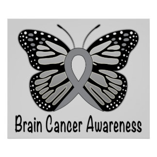 Brain Cancer Butterfly Awareness Ribbon Poster