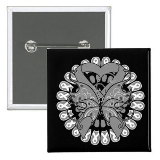 Brain Cancer Butterfly Circle of Ribbons 2 Inch Square Button