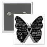 Brain Cancer Butterfly Collage of Words 2 Inch Square Button