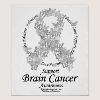 Brain Cancer Butterfly Ribbon Poster
