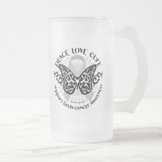 Brain Cancer Butterfly Tribal Frosted Glass Beer Mug