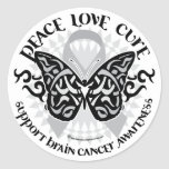 Brain Cancer Butterfly Tribal Classic Round Sticker