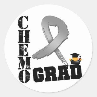 Brain Cancer Chemo Grad Classic Round Sticker