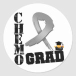 Brain Cancer Chemo Grad Round Stickers