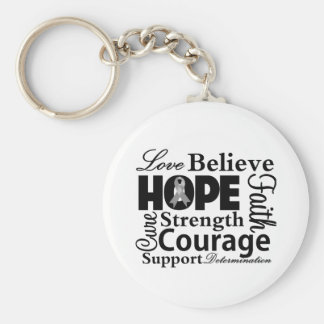 Brain Cancer Collage of Hope Keychain