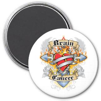 Brain Cancer Cross & Heart 3 Inch Round Magnet