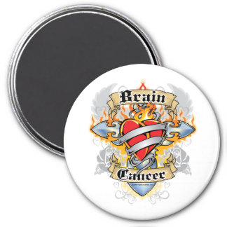 Brain Cancer Cross & Heart Magnet
