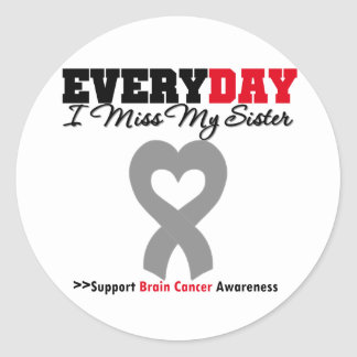 Brain Cancer Every Day I Miss My Sister Round Sticker