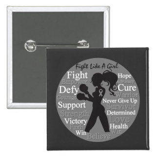 Brain Cancer Fight Like A Girl Collage Pinback Buttons