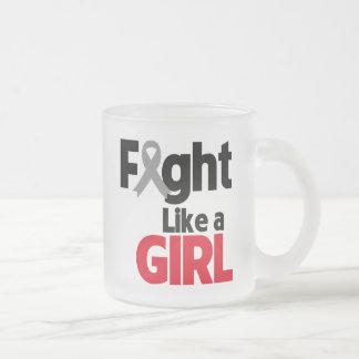 Brain Cancer Fight Like a Girl 10 Oz Frosted Glass Coffee Mug