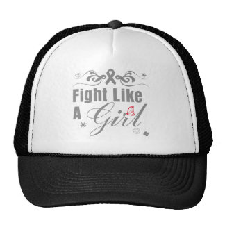 Brain Cancer Fight Like A Girl Ornate Mesh Hat