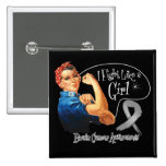 Brain Cancer Fight Like a Girl Rosie The Riveter Button