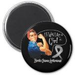 Brain Cancer Fight Like a Girl Rosie The Riveter Fridge Magnet
