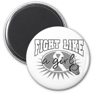 Brain Cancer Fight Like A Girl Sporty Callout Refrigerator Magnet