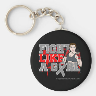 Brain Cancer Fighter - Fights Like a Girl Keychain