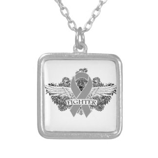 Brain Cancer Fighter Wings Square Pendant Necklace