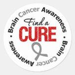 Brain Cancer Find A Cure Round Stickers