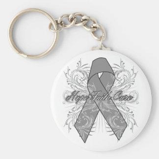 Brain Cancer Flourish Hope Faith Cure Key Chain