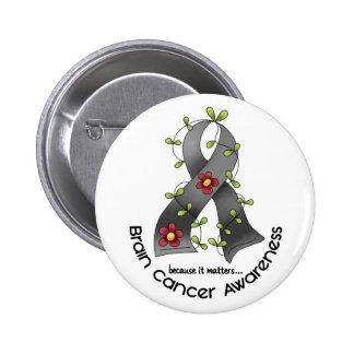 Brain Cancer FLOWER RIBBON 1 Button