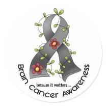 Brain Cancer FLOWER RIBBON 1 Classic Round Sticker