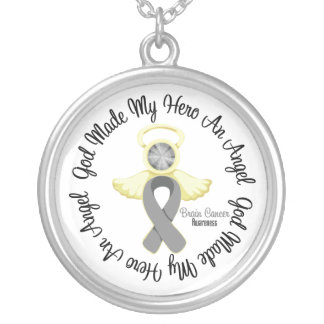 Brain Cancer God Made My Hero An Angel Round Pendant Necklace