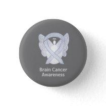 Brain Cancer Gray Awareness Ribbon Custom Button