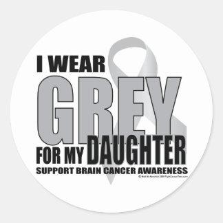Brain Cancer Grey for Daughter Classic Round Sticker