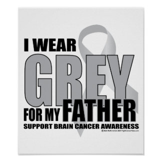 Brain Cancer Grey for Father Poster