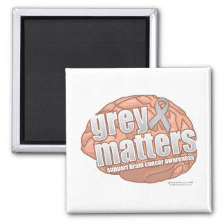 Brain Cancer Grey Matters 2 Inch Square Magnet