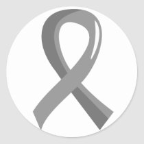 Brain Cancer Grey Ribbon 3 Classic Round Sticker