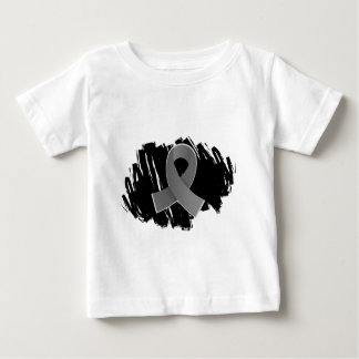 Brain Cancer Grey Ribbon With Scribble Baby T-Shirt