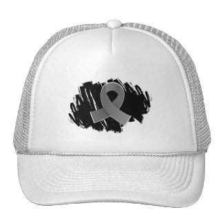 Brain Cancer Grey Ribbon With Scribble Trucker Hat