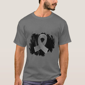 Brain Cancer Grey Ribbon With Scribble T-Shirt