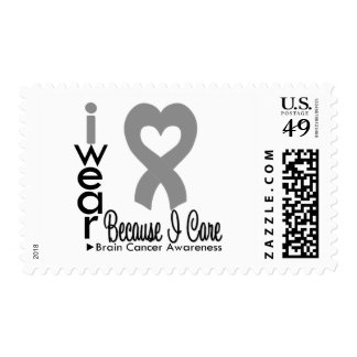 Brain Cancer Heart Ribbon Because I Care Stamp