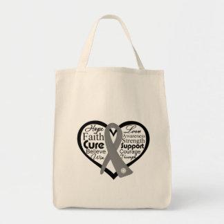 Brain Cancer Heart Ribbon Collage Canvas Bag