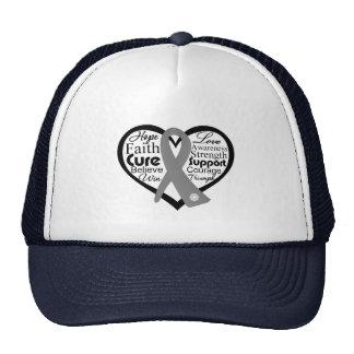 Brain Cancer Heart Ribbon Collage Hat