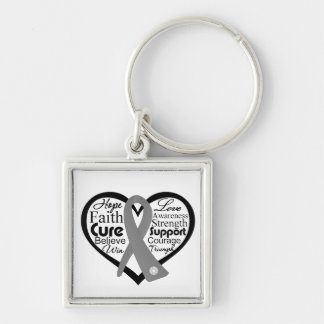 Brain Cancer Heart Ribbon Collage Silver-Colored Square Keychain