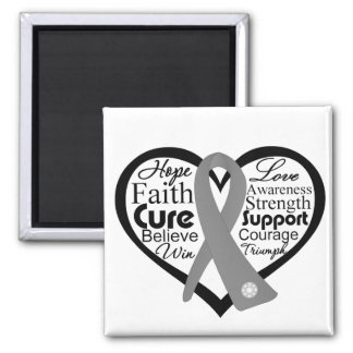 Brain Cancer Heart Ribbon Collage 2 Inch Square Magnet