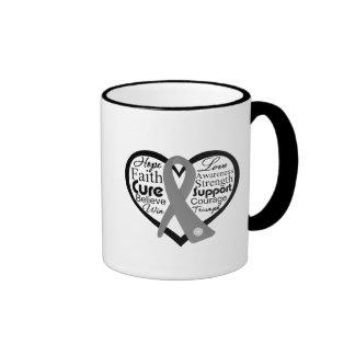 Brain Cancer Heart Ribbon Collage Ringer Coffee Mug