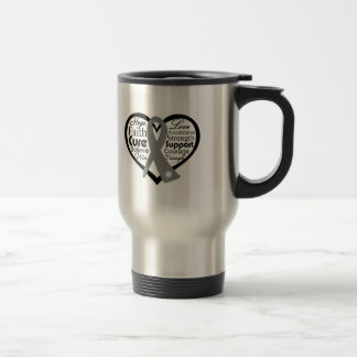 Brain Cancer Heart Ribbon Collage 15 Oz Stainless Steel Travel Mug