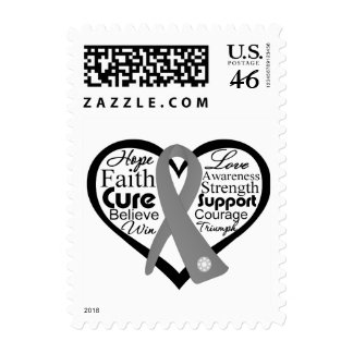 Brain Cancer Heart Ribbon Collage Stamp