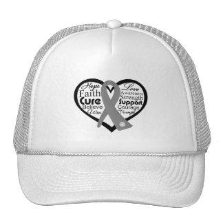 Brain Cancer Heart Ribbon Collage Trucker Hat