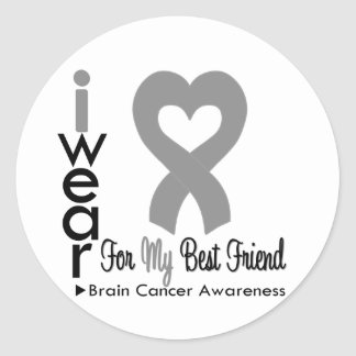 Brain Cancer Heart Ribbon For My Best Friend Stickers