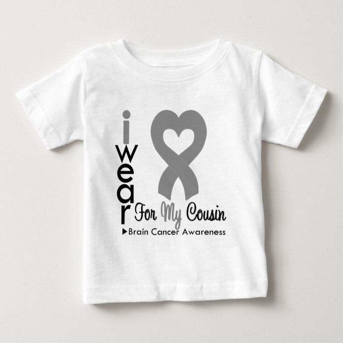 Brain Cancer Heart Ribbon For My Cousin Baby T-Shirt