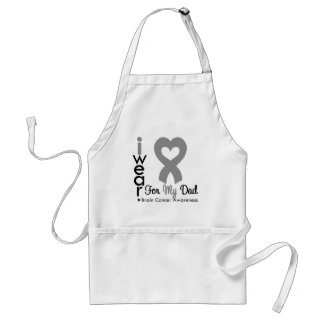 Brain Cancer Heart Ribbon For My Dad Adult Apron
