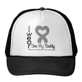 Brain Cancer Heart Ribbon For My Daddy Mesh Hats