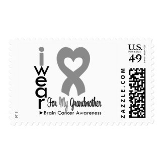 Brain Cancer Heart Ribbon For My Grandmother Stamp