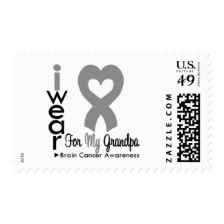 Brain Cancer Heart Ribbon For My Grandpa Postage Stamp