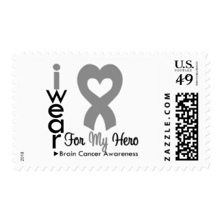 Brain Cancer Heart Ribbon For My Hero Stamps