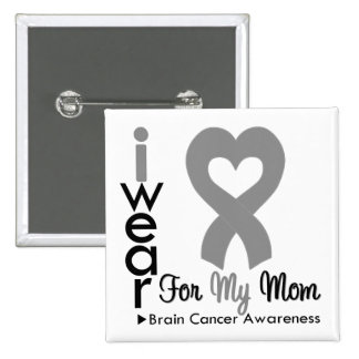 Brain Cancer Heart Ribbon For My Mom Pinback Button
